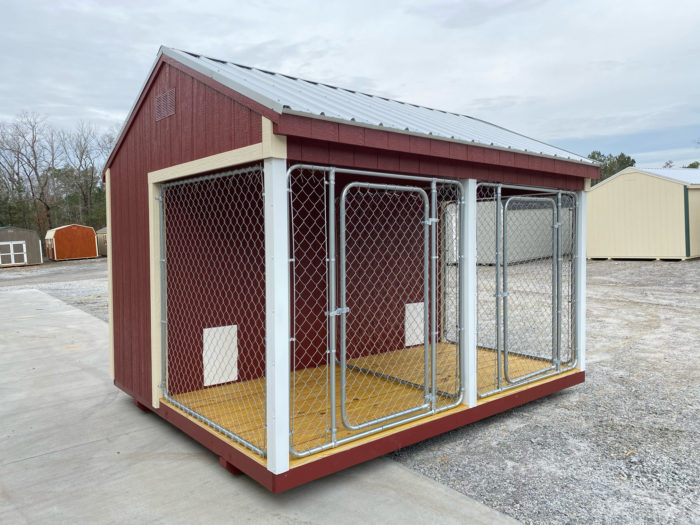 FB FISHER BARNS X DOG KENNEL RED N WHITE GALVALUME Outside Photo