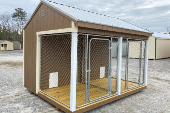FB FISHER BARNS X DOG KENNEL Q TAN N WHITE GALVALUME Outside Photo