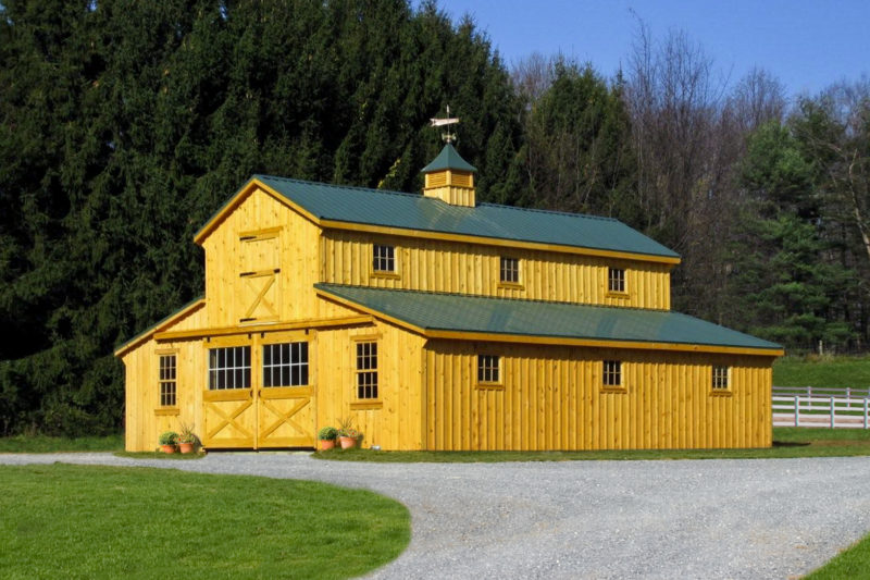 x Stained Keystone Gold Monitor Barn